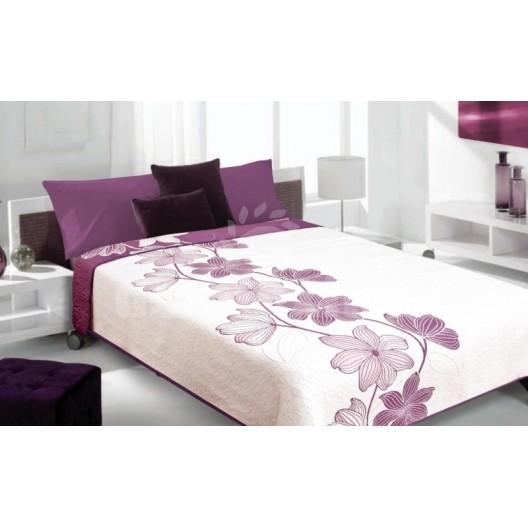 Luxusný obojstranný prehoz na posteľ biely s fialovým kvetom