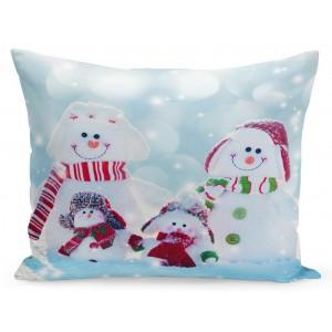 Vianočná obliečka na vankúš rodinka snehuliakov