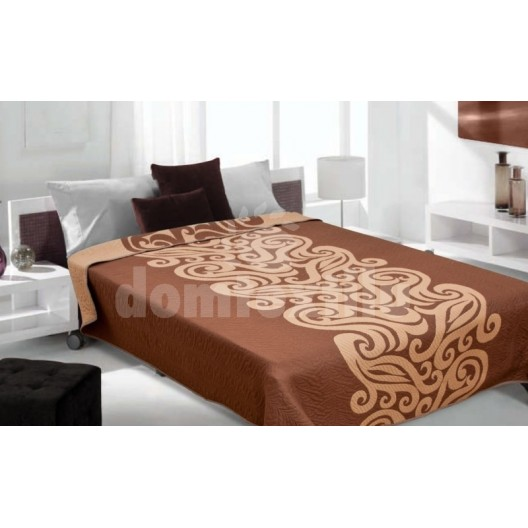 Luxusný obojstranný prehoz na posteľ odtiene hnedej