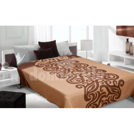 Luxusný obojstranný prehoz na posteľ odtiene hnedej farby s motívom