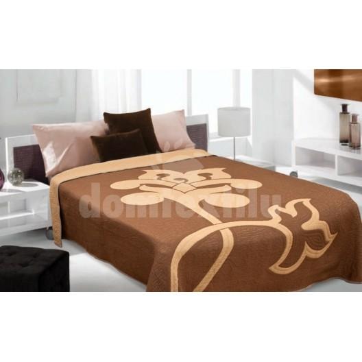 Luxusný obojstranný prehoz na posteľ hnedý so svelto hnedým motívom