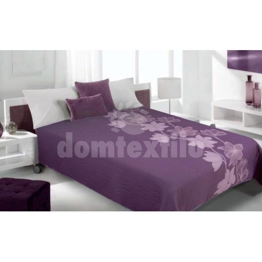 Luxusný obojstranný prehoz na posteľ odtiene fialovej farby s motívom