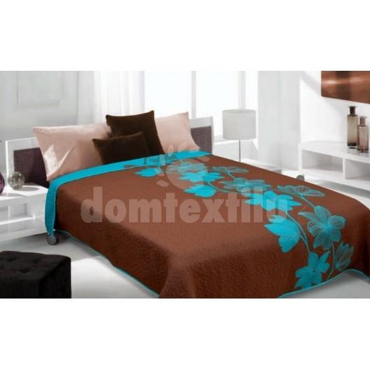 Luxusný obojstranný prehoz na posteľ hnedý s modrým vzorom
