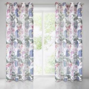 Jednoduchá záclona s motívom kvetov 140 x 250 cm SKLADOM