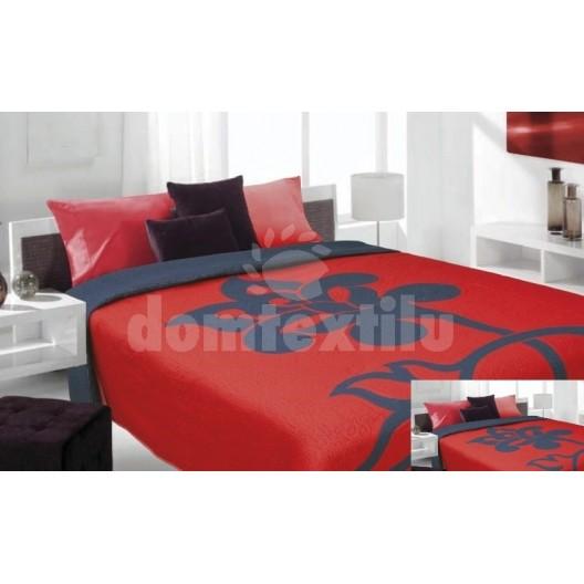 Luxusný obojstranný prehoz na posteľ červený s modrým kvietkom