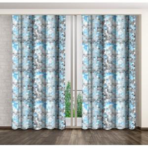 Hotové závesy do obývačky modro sivej farby