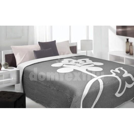 Luxusný obojstranný prehoz na posteľ sivý s bielym kvietkom