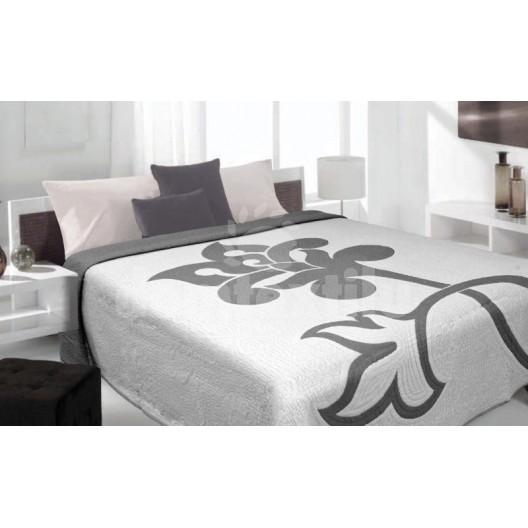 Luxusný obojstranný prehoz na posteľ béžové so sivým kvetom
