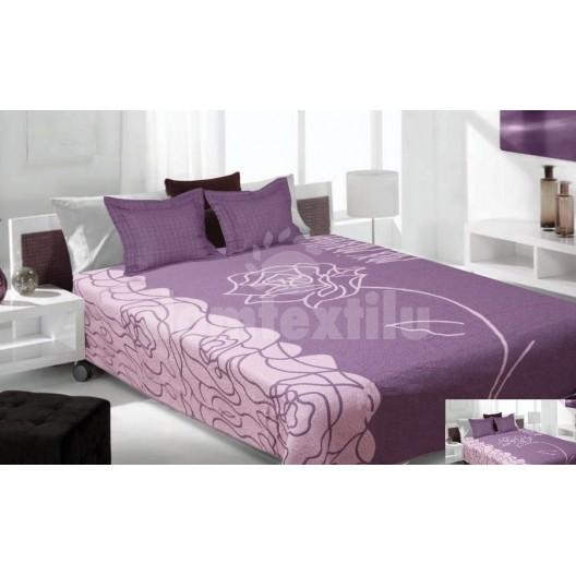 Luxusný obojstranný prehoz na posteľ fialový s farebným motívom