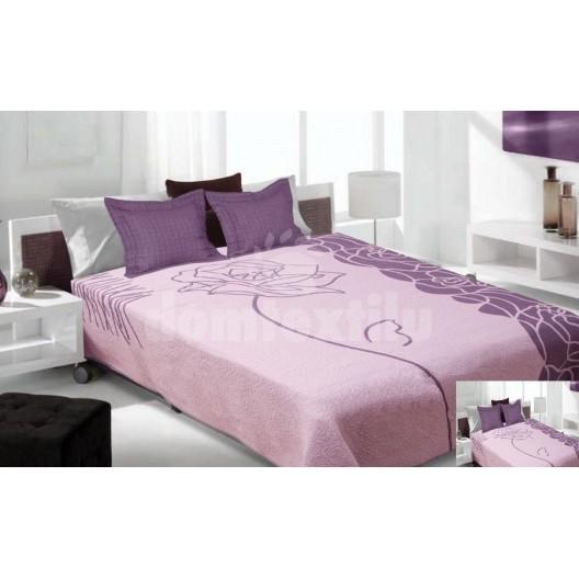 Luxusný obojstranný prehoz na posteľ fialový s bielymi čiarami