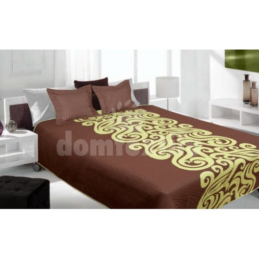 Luxusný obojstranný prehoz na posteľ hnedý so zeleným vzorom