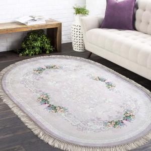 Oválny protišmykový koberec vo fialovej farbe