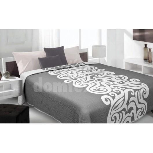 Luxusný obojstranný prehoz na posteľ sivý s bielym vzorom