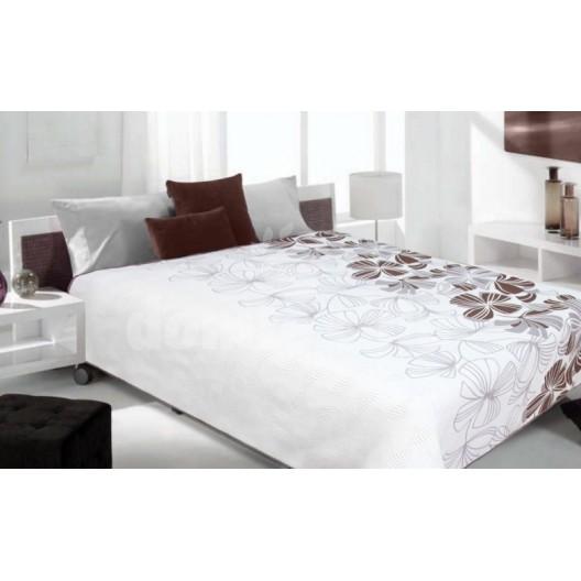 Luxusný obojstranný prehoz na posteľ biely s hnedými kvetami