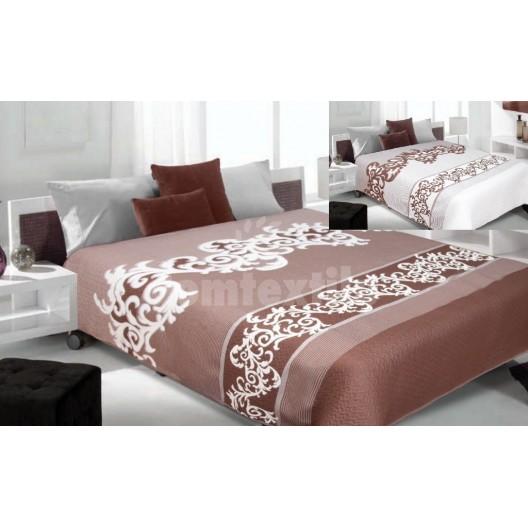 Luxusný obojstranný prehoz na posteľ hnedý s bielymi vzormi