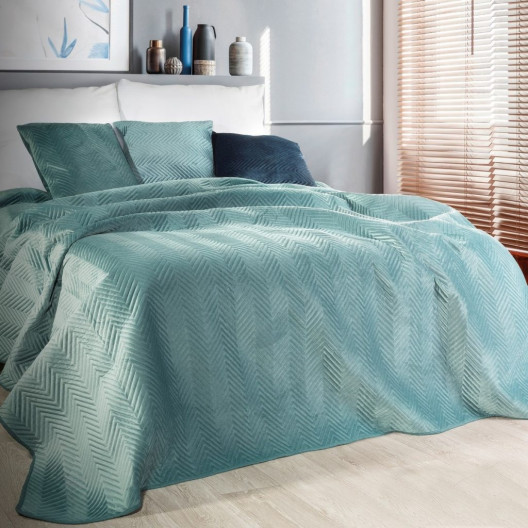 Prešívaný zamatový prehoz na posteľ mätovo zelenej farby