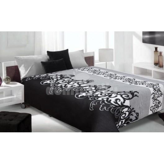 Luxusný obojstranný prehoz na posteľ čierno sivý so vzorom
