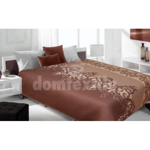 Luxusný obojstranný prehoz na posteľ odtiene hnedej farby s ornamentom