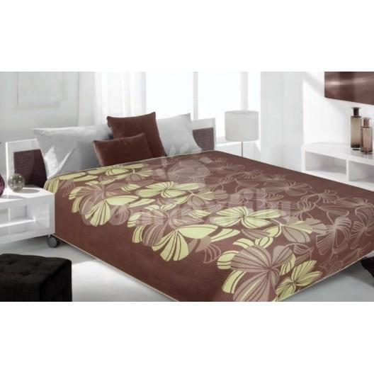 Luxusný obojstranný prehoz na posteľ hnedý s bielymi kvetami