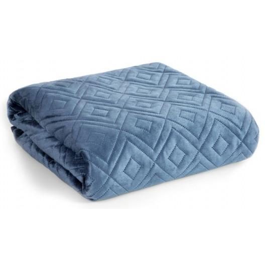 Modrý zamatový prehoz na posteľ s dekoračným prešívaním