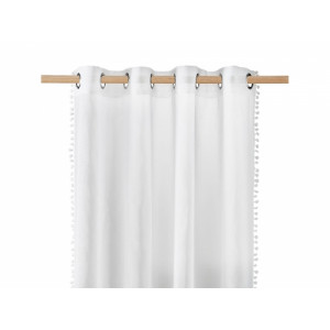 Štýlová biela záclona na kruhy s guličkami 250cm SKLADOM
