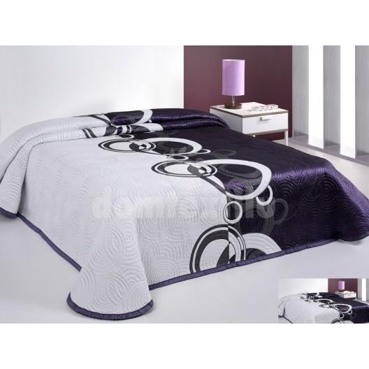 Luxusný obojstranný prehoz na posteľ bielo fialový s bielymi krúžkami