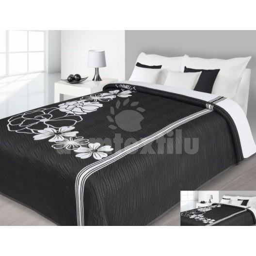 Luxusný obojstranný prehoz na posteľ biely s čiernymi kvietkami