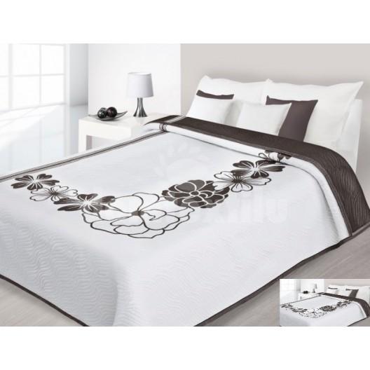Luxusný obojstranný prehoz na posteľ hnedý s bielymi ornamentami
