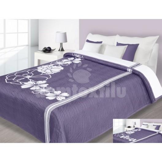 Luxusný obojstranný prehoz na posteľ fialový s bielymi kvietkami