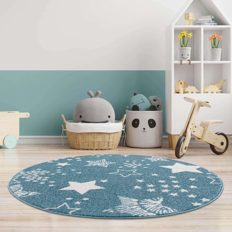 DomTextilu Modrý okrúhly koberec do detskej izby STARS 41647-196824