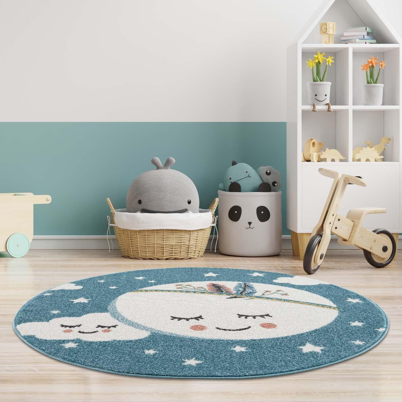 DomTextilu Čarovný modrý koberec do detskej izby spiaci mesiac 41651-196831
