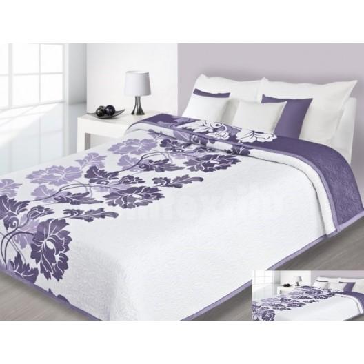 Luxusný obojstranný prehoz na posteľ svetlo fialový s bielymi kvetmi