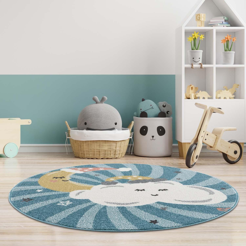 DomTextilu Modrý okrúhly koberec do detskej izby spiaca obloha 41673-196865