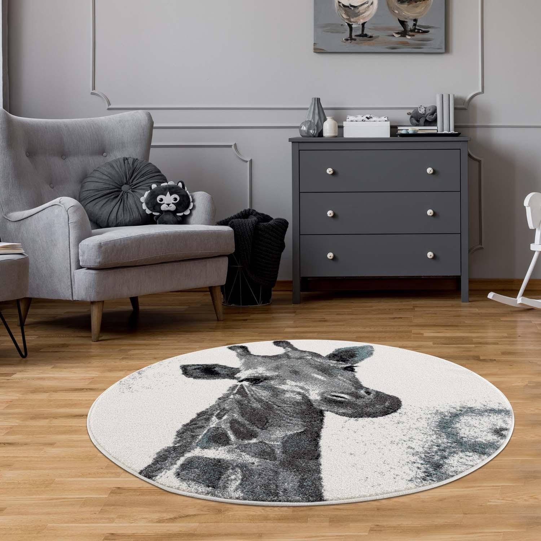 DomTextilu Sivo krémový okrúhly koberec do detskej izby žirafa 41684-196890