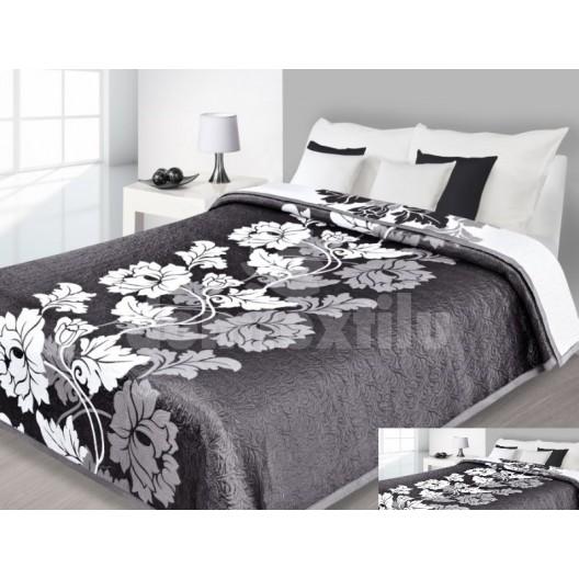 Luxusný obojstranný prehoz na posteľ tmavo sivý s bielym vzorom