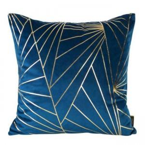 Modrá zamatová obliečka na vankúš so zlatým vzorom