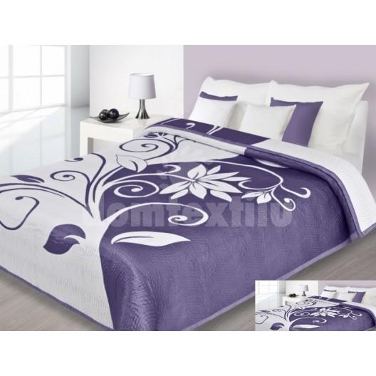 Luxusný obojstranný prehoz na posteľ fialovo biely s motívom