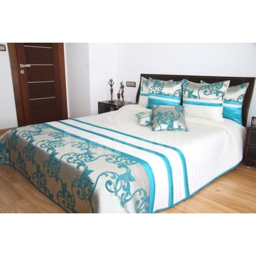 Luxusný prehoz na posteľ tyrkysovo krémový
