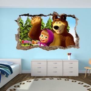 Nálepka na stenu Máša a medveď 47x77cm