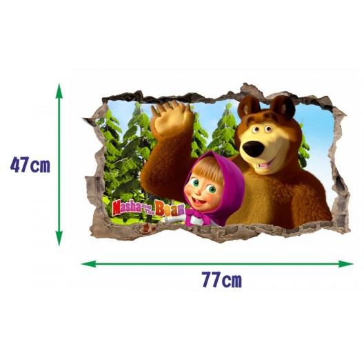 Nálepka na stenu Máša a medveď