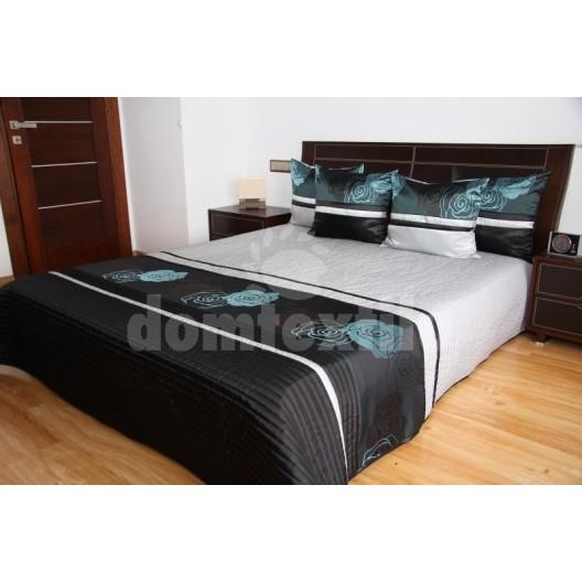 Luxusný prehoz na posteľ šedo čierny s tyrkysovými kvetmi