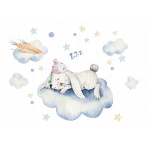 Dekoračné nálepky na stenu spiaci zajko