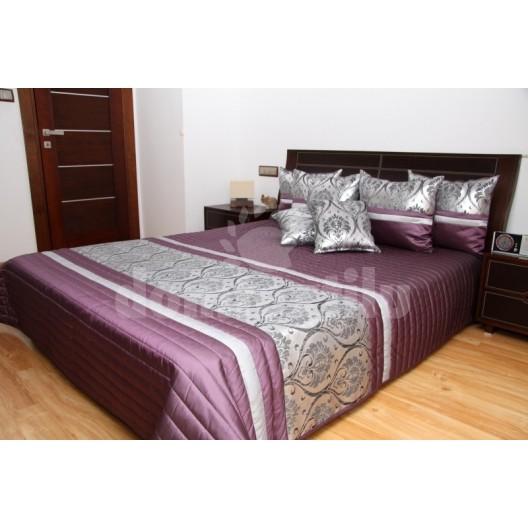 Luxusný prehoz na posteľ strieborno fialový