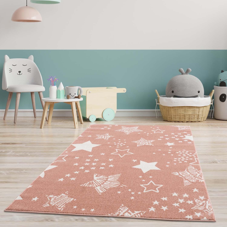 DomTextilu Ružový koberec do detskej izby STARS 41831-197193