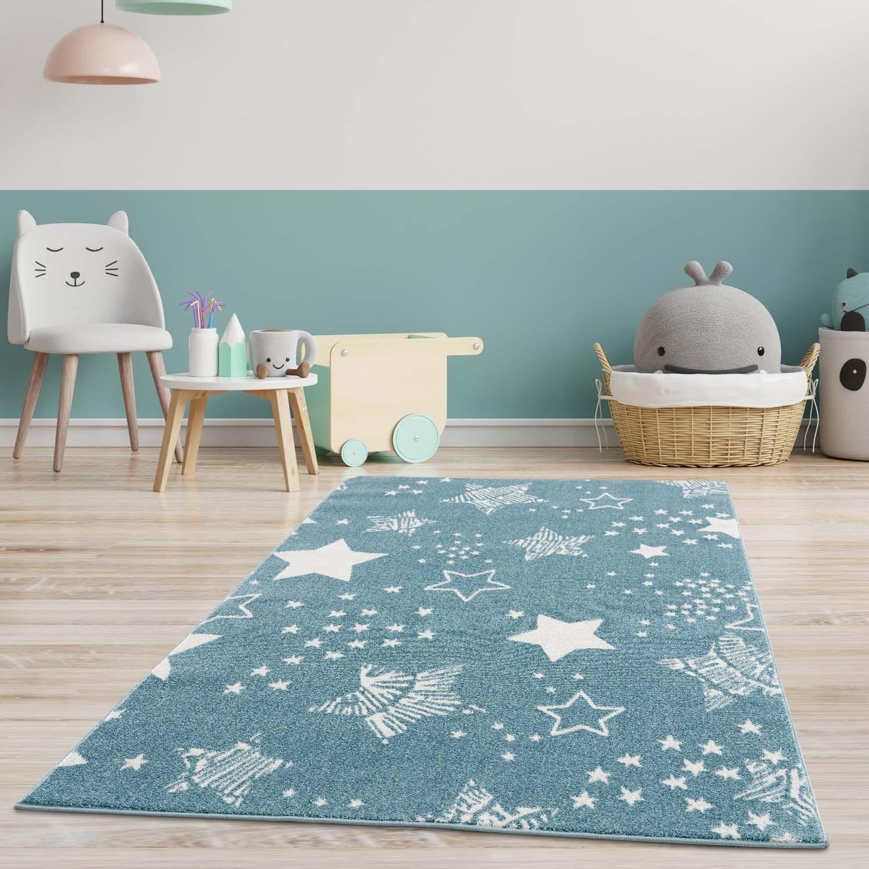 DomTextilu Originálny modrý koberec do detskej izby STARS 41832-197197