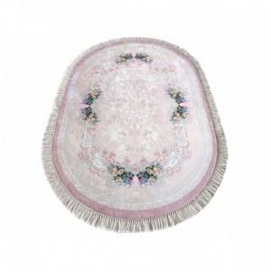 Oválny protišmykový koberec v ružovej farbe