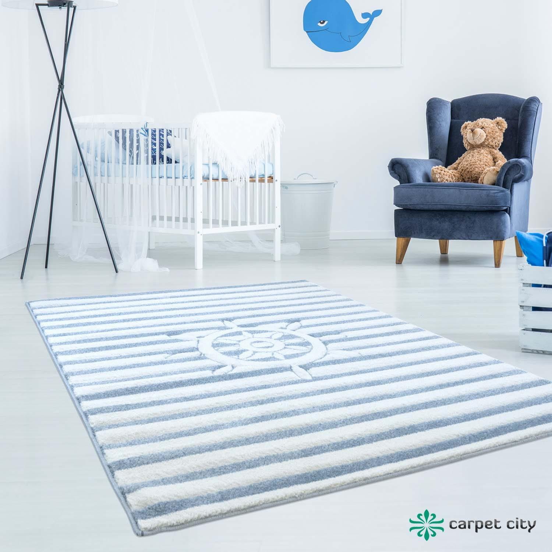 DomTextilu Námornícky bielo modrý koberec pre chlapca kormidlo 41851-197250