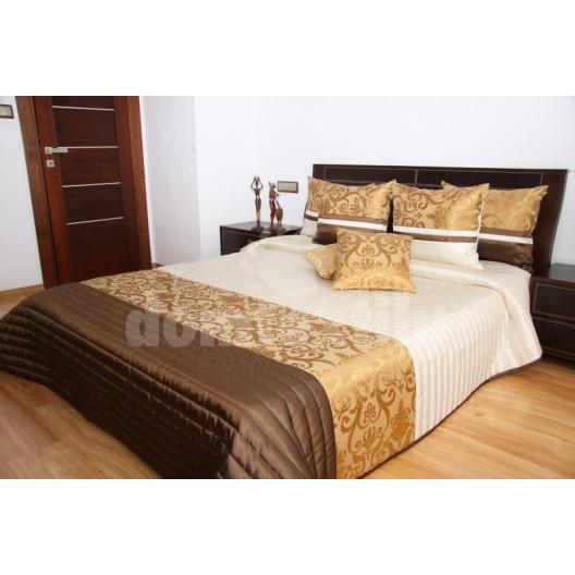 Luxusný prehoz na posteľ béžový so vzorom a bronzovo hnedou podtlačou