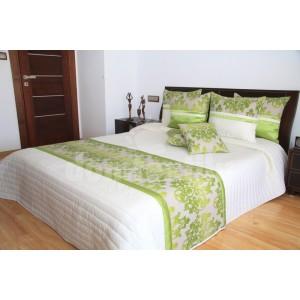 Luxusný prehoz na posteľ béžový so zelenými pruhmi