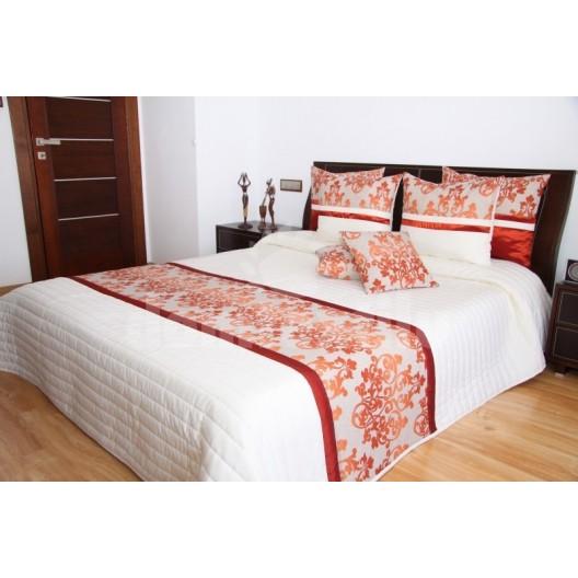 Luxusný prehoz na posteľ béžový s bordovým vzorom